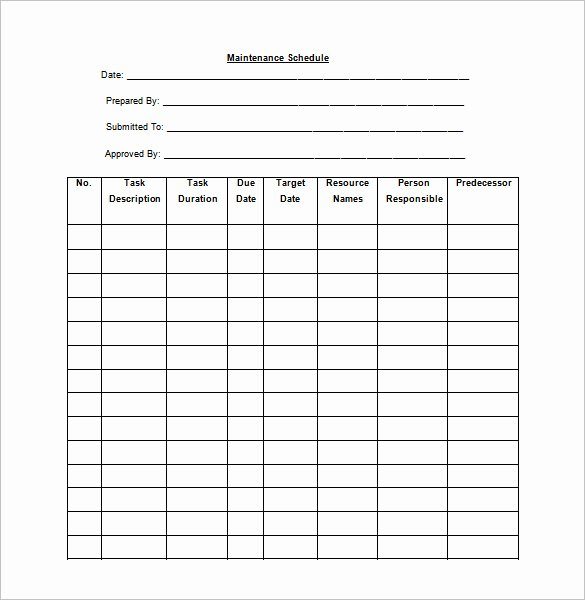 Preventive Maintenance Checklist Template Unique 37 Preventive Maintenance Schedule Templates Word