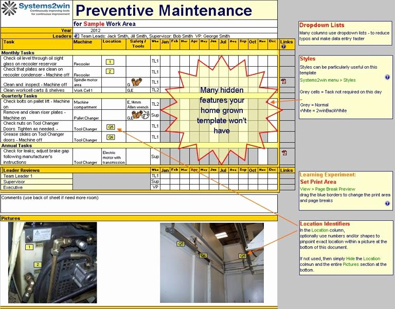 Preventive Maintenance Excel Template Best Of Preventive Maintenance Checklist Excel Template for Tpm