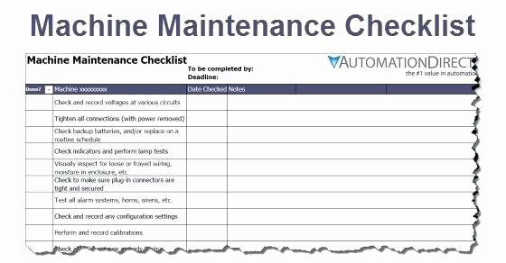 Preventive Maintenance form Template Best Of Lathe Machine Preventive Maintenance Checklist format
