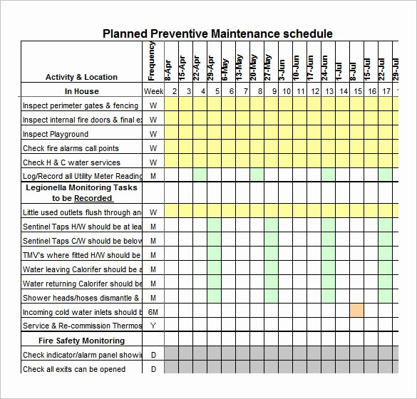 Preventive Maintenance form Template Elegant 37 Preventive Maintenance Schedule Templates Word