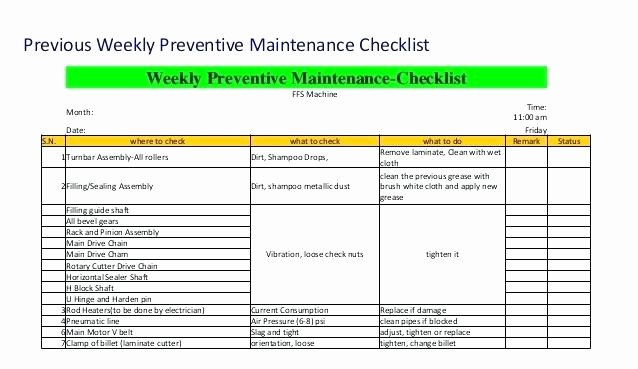 Preventive Maintenance form Template Inspirational Equipment Maintenance Checklist Example Preventative