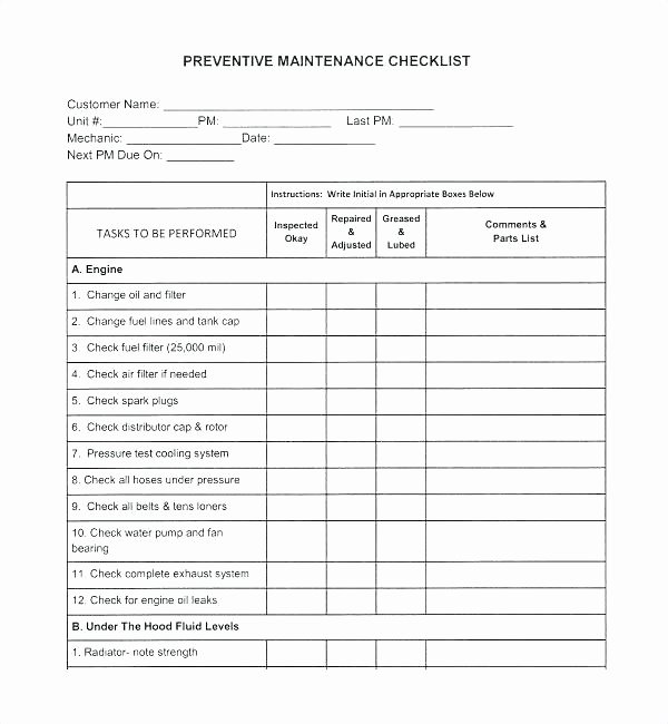 Preventive Maintenance Plan Template Best Of Truck Maintenance Schedule Template