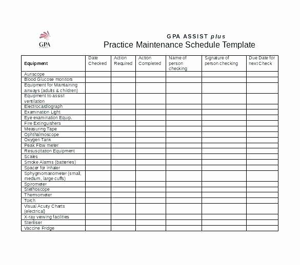 Preventive Maintenance Plan Template New Vehicle Maintenance Checklist Template Free Templates