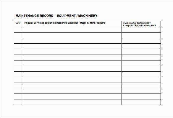 Preventive Maintenance Schedule Template Beautiful Equipment Maintenance Schedule Template Excel