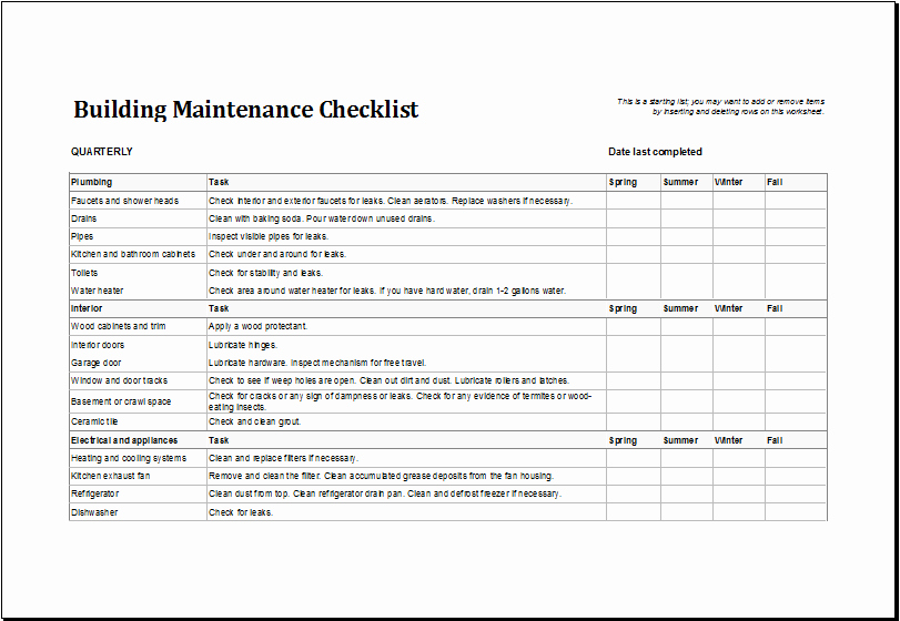 Preventive Maintenance Schedule Template Excel Unique 7 Facility Maintenance Checklist Templates Excel Templates