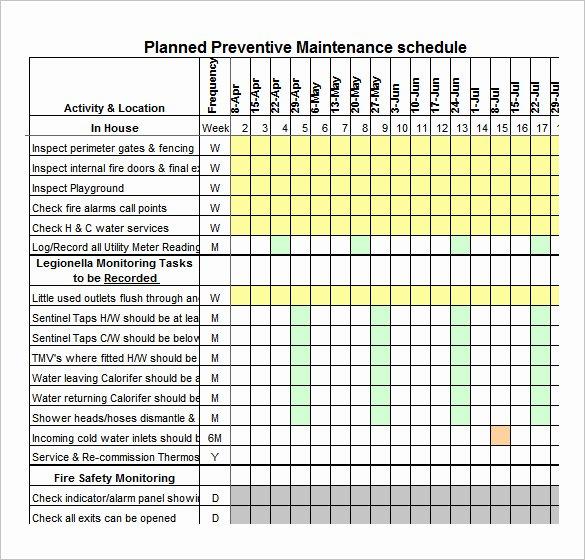 Preventive Maintenance Schedule Template Lovely 37 Preventive Maintenance Schedule Templates Word
