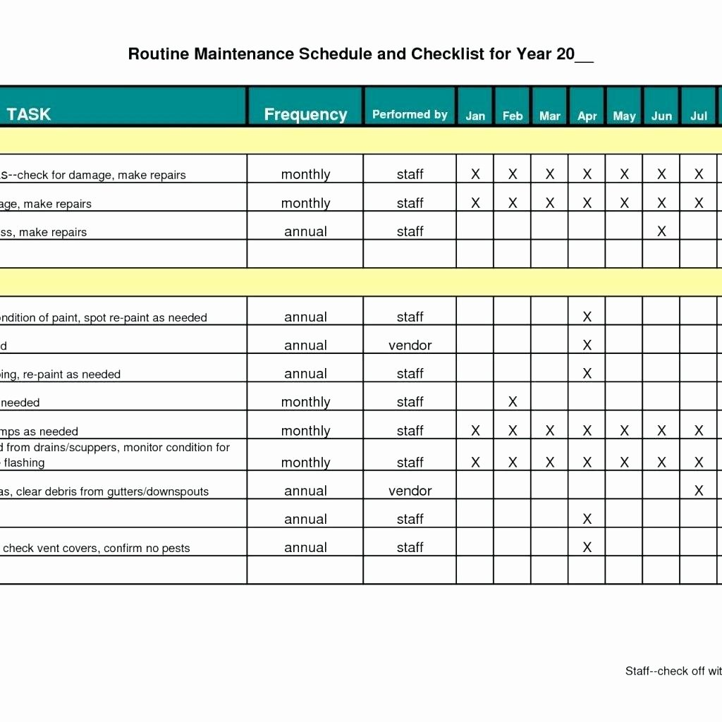Preventive Maintenance Schedule Template New Preventive Maintenance Schedule Template