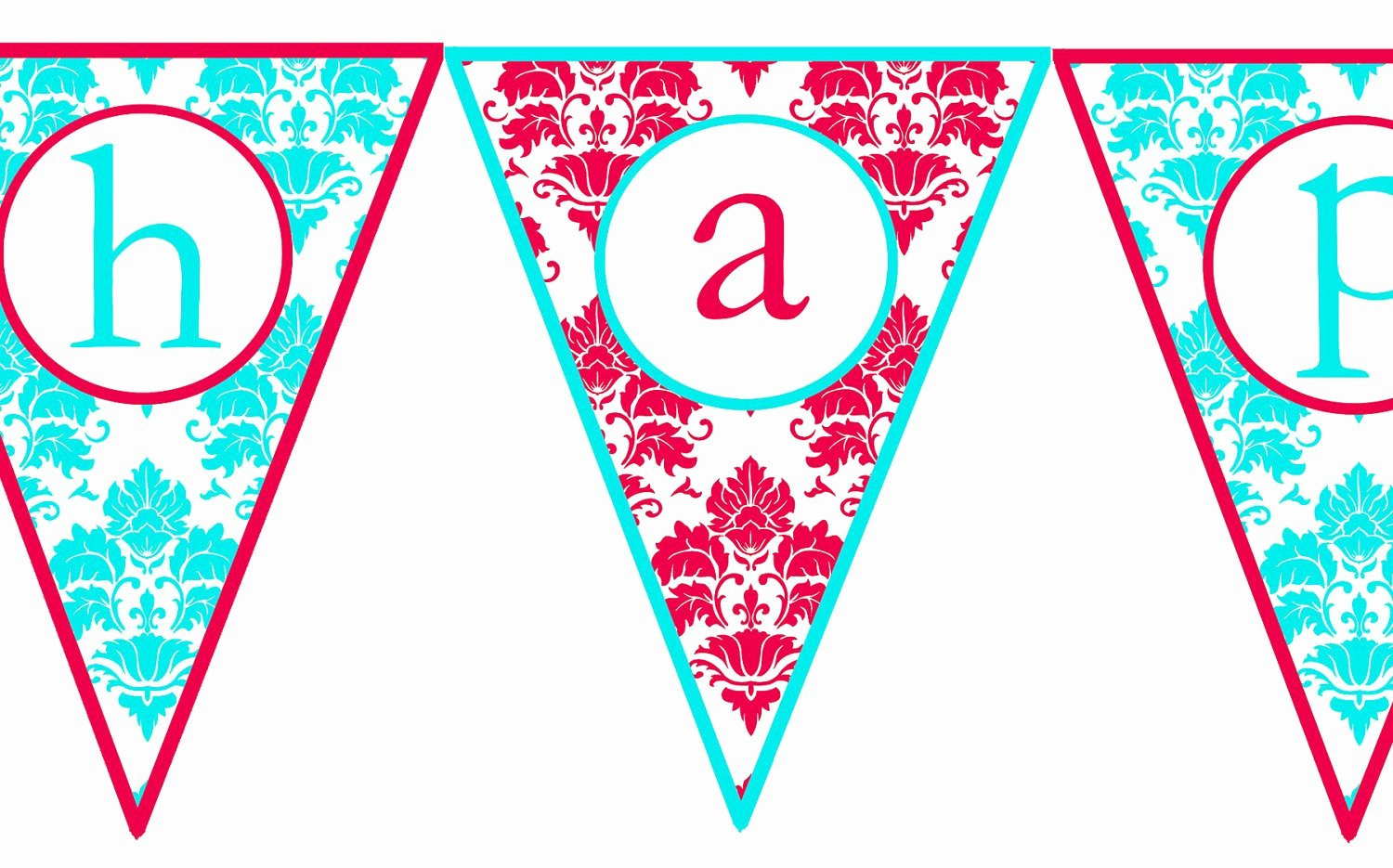 Printable Birthday Banner Template Fresh Instant Download Red & Aqua Damask Printable Happy Birthday