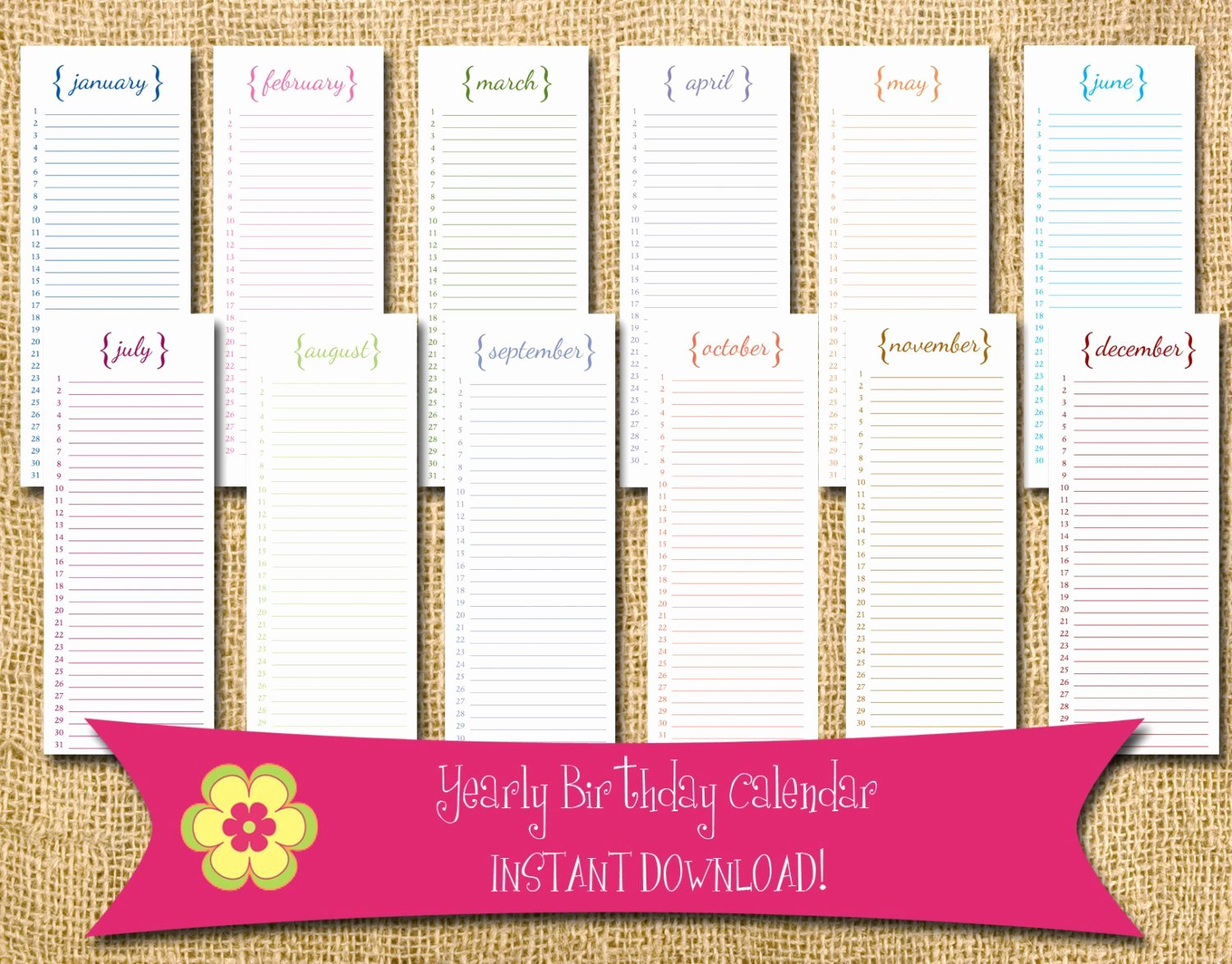 Printable Birthday Calendar Template Beautiful Instant Download Perpetual Birthday Calendar with Brackets