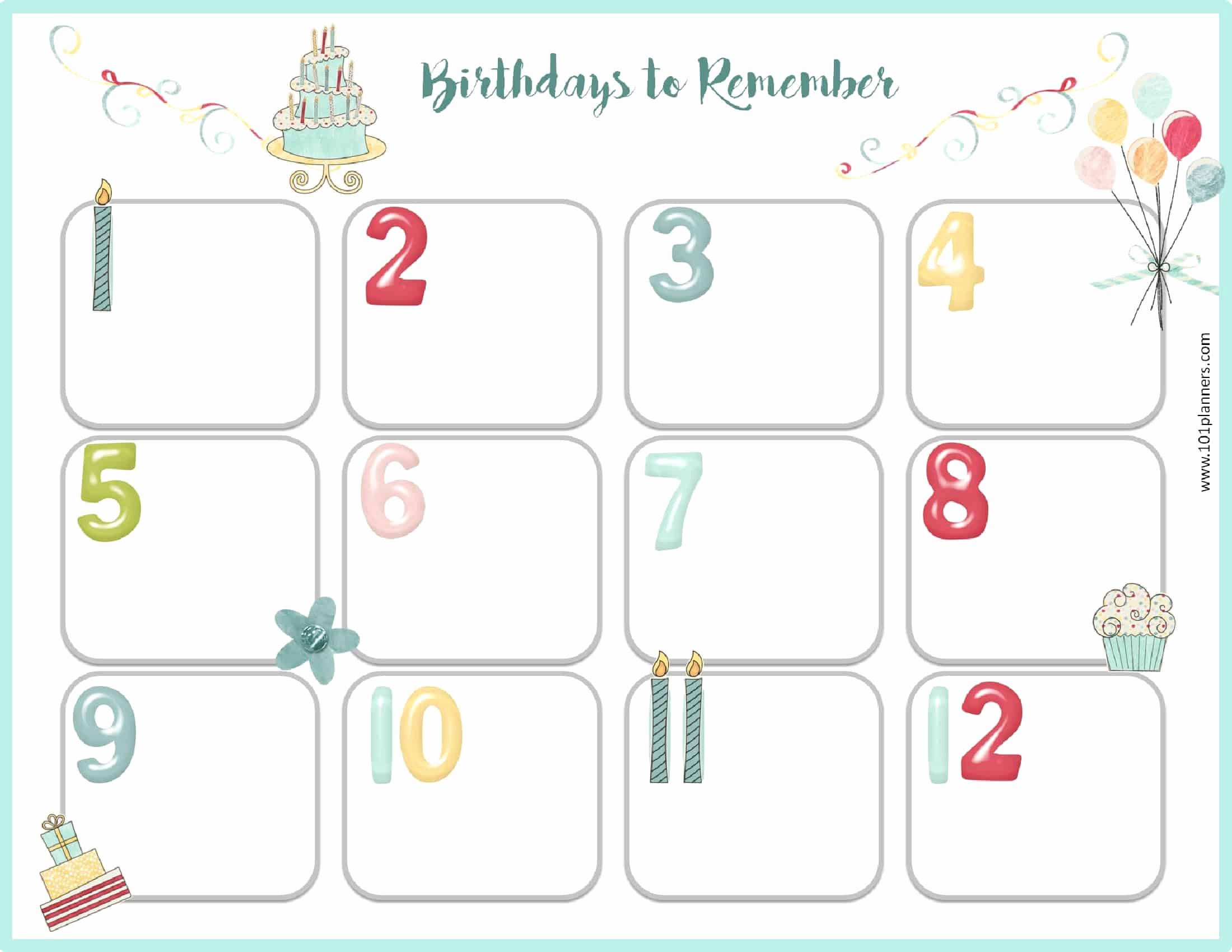 Printable Birthday Calendar Template Best Of Free Birthday Calendar