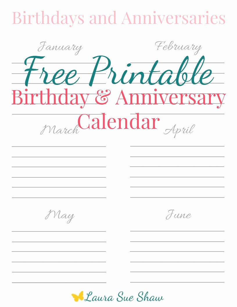 Printable Birthday Calendar Template Best Of Free Printable Birthday & Anniversary Calendar Laura Sue