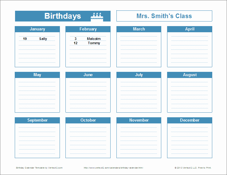 Printable Birthday Calendar Template Elegant Birthday Reminder Calendar Template Printable
