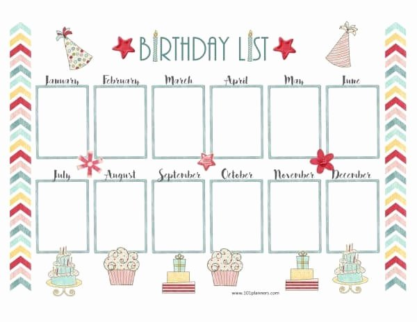 birthday calendar template