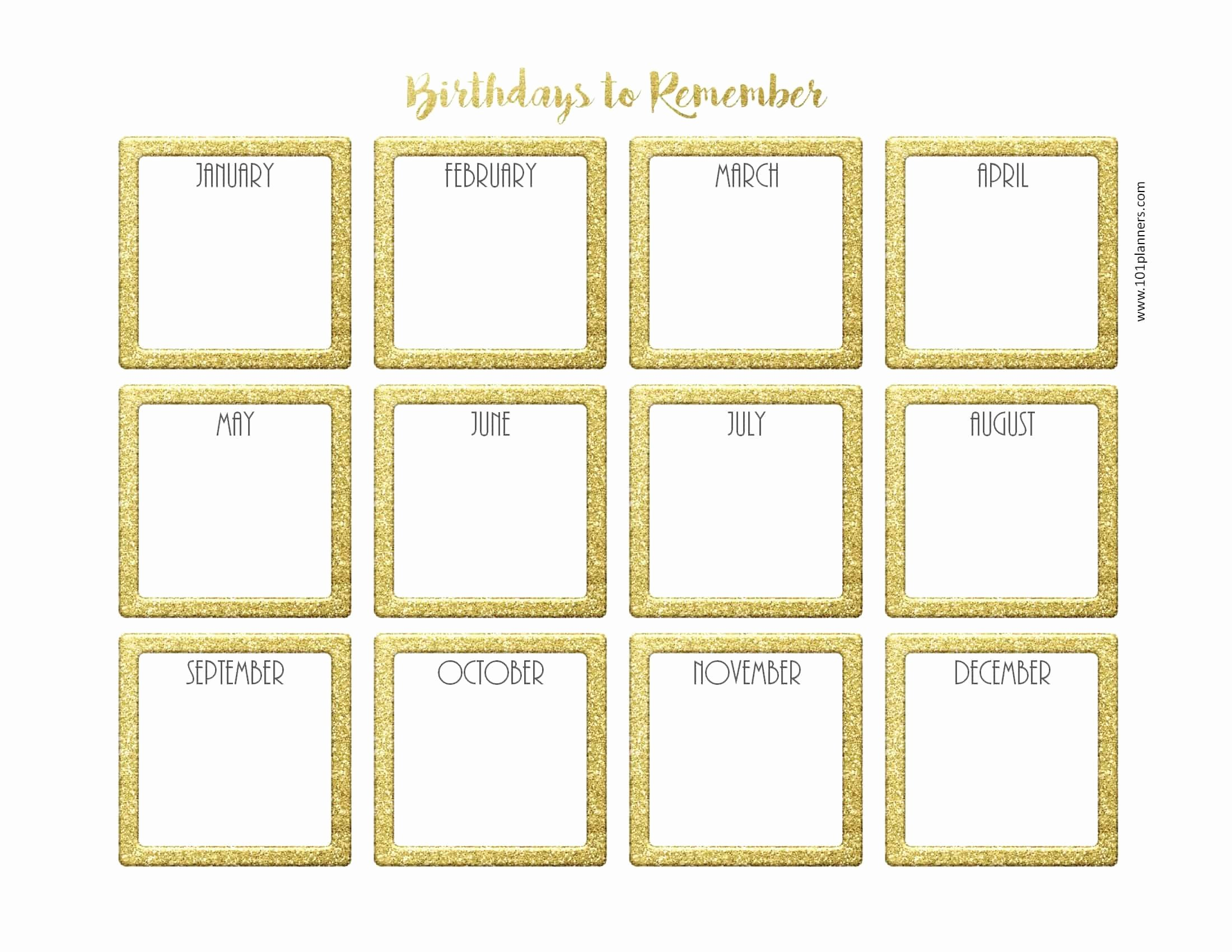 Printable Birthday Calendar Template Inspirational Free Birthday Calendar