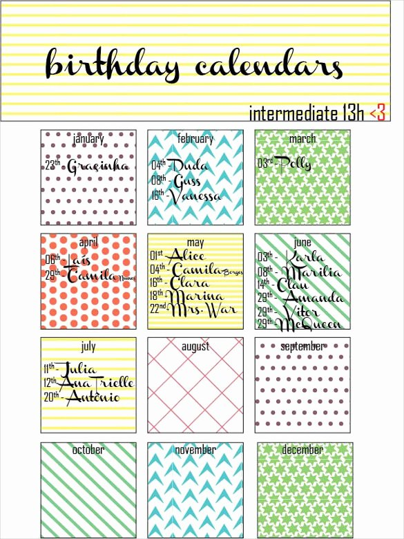 Printable Birthday Calendar Template Lovely 21 Birthday Calendar Templates Free Sample Example