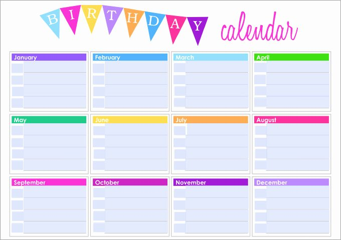 Printable Birthday Calendar Template Lovely Birthday Calendar Calendar Template