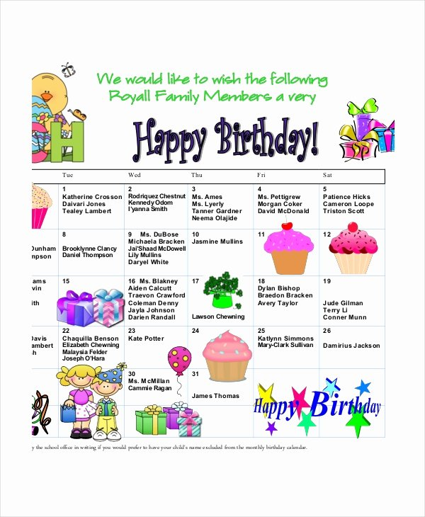 Printable Birthday Calendar Template Luxury Birthday Calendar 11 Free Word Pdf Psd Documents