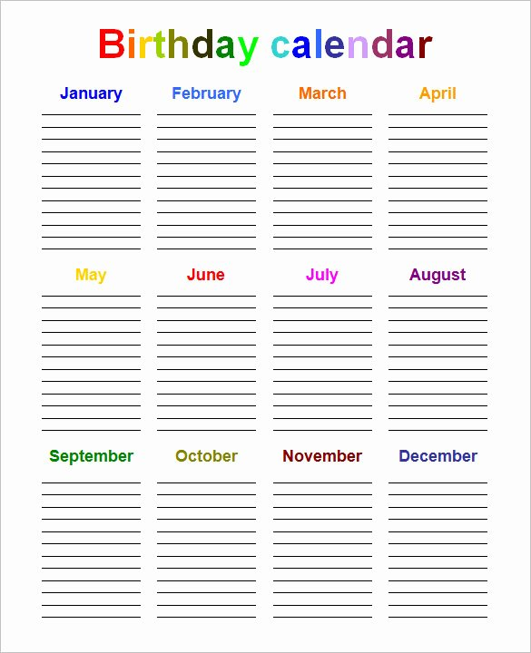 Printable Birthday Calendar Template New 40 Microsoft Calendar Templates Free Word Excel