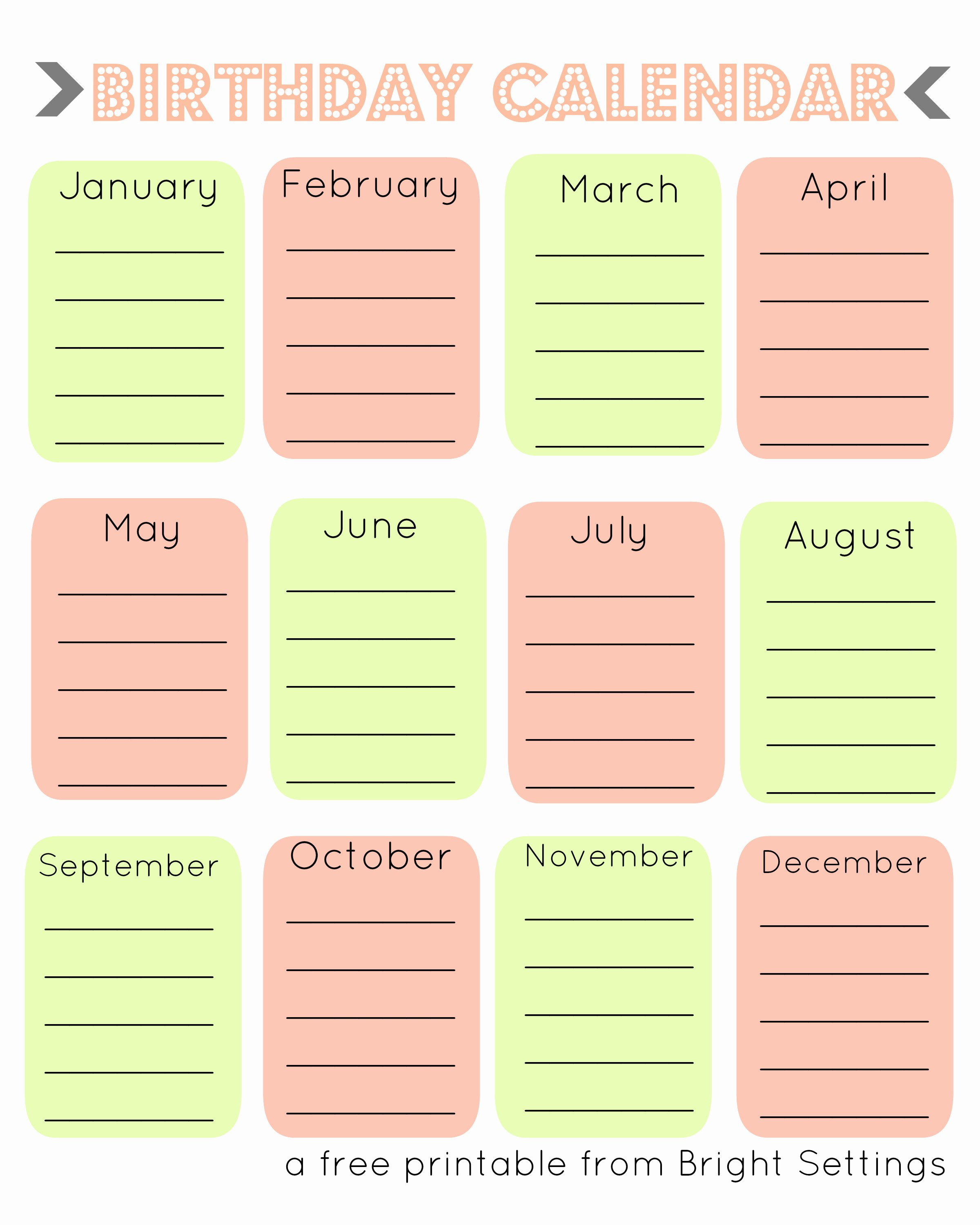 Printable Birthday Calendar Template New Free Printable Birthday Calendar the Bright Ideas Blog