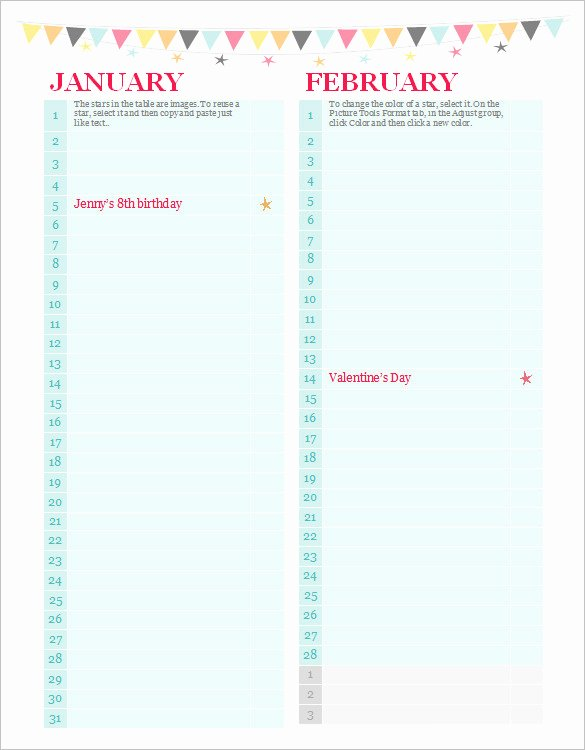 Printable Birthday Calendar Template Unique 40 Microsoft Calendar Templates Free Word Excel
