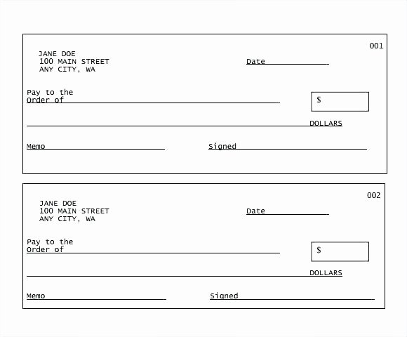 Printable Blank Check Template Awesome Free Printable Checks Template Check Templates Great for