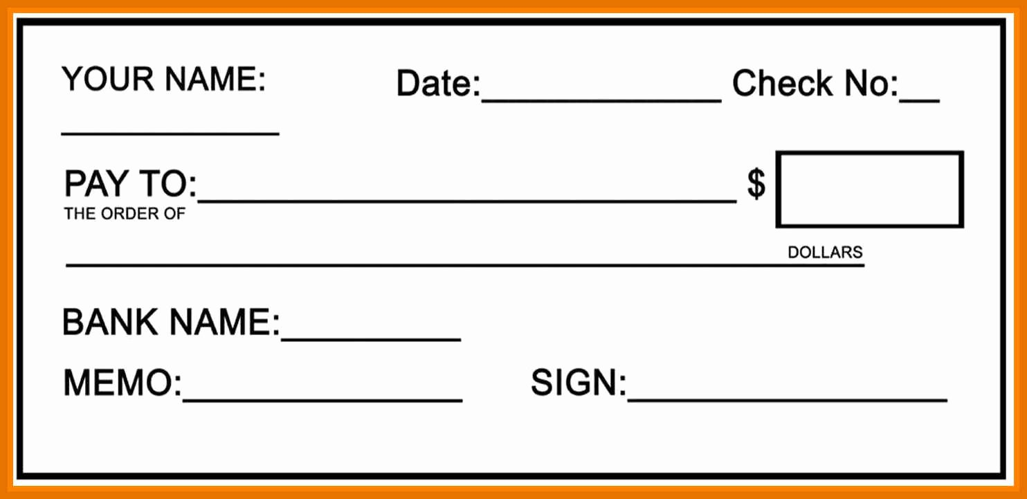 Printable Blank Check Template Inspirational 2 3 Cheque Template