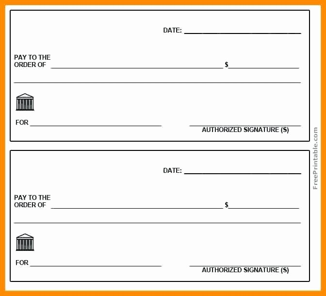 Printable Blank Check Template New Free Blank Cheque Template – Puntogov