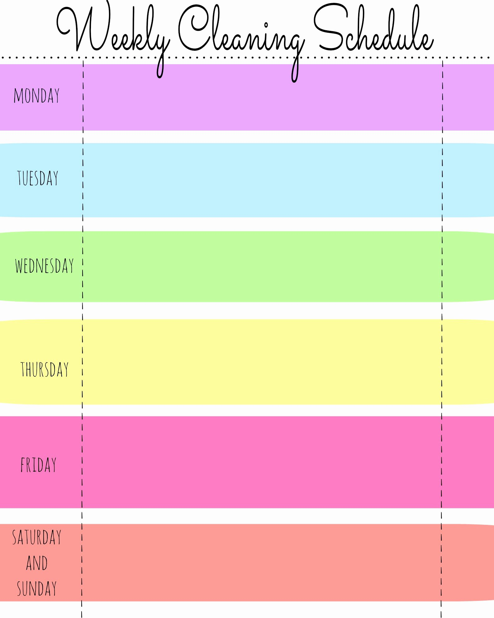 Printable Cleaning Schedule Template Awesome My Quirky Weekly Cleaning Chart Free Printable First