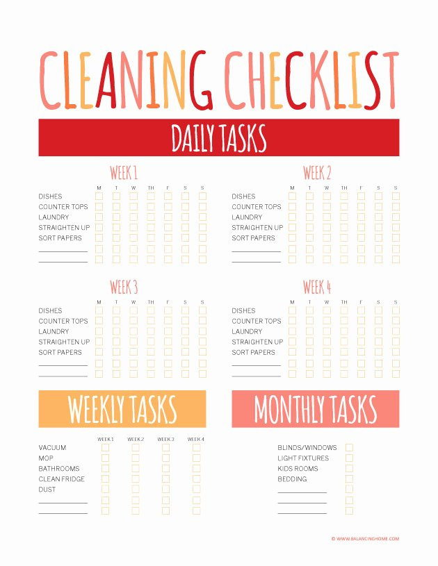 Printable Cleaning Schedule Template Best Of Printable Planner Weekly Template Balancing Home