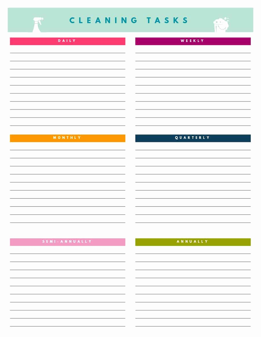 Printable Cleaning Schedule Template Fresh 40 Printable House Cleaning Checklist Templates Template Lab