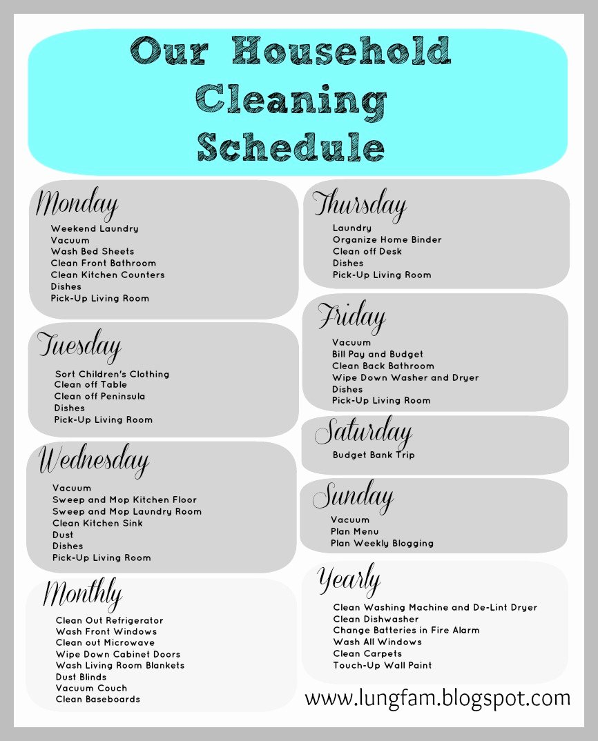 Printable Cleaning Schedule Template Inspirational the Lung Family House Cleaning and A Free Printable