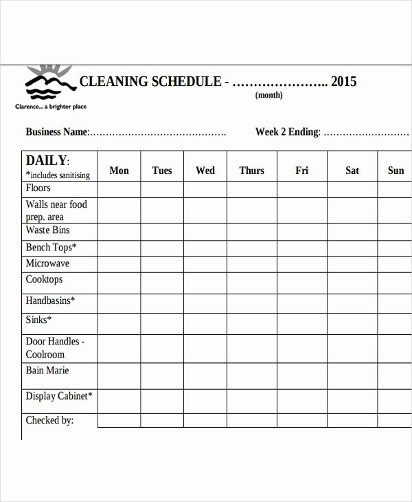 Printable Cleaning Schedule Template Lovely Cleaning Schedule Template for Restaurant