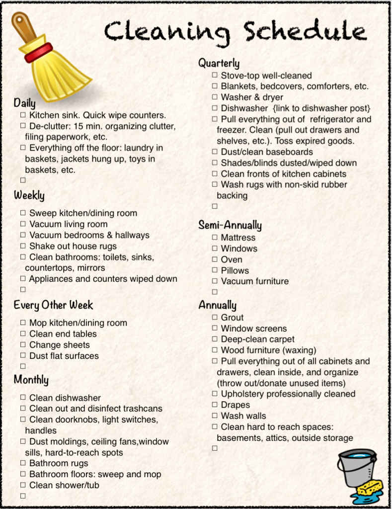 free printable cleaning calendar and checklist