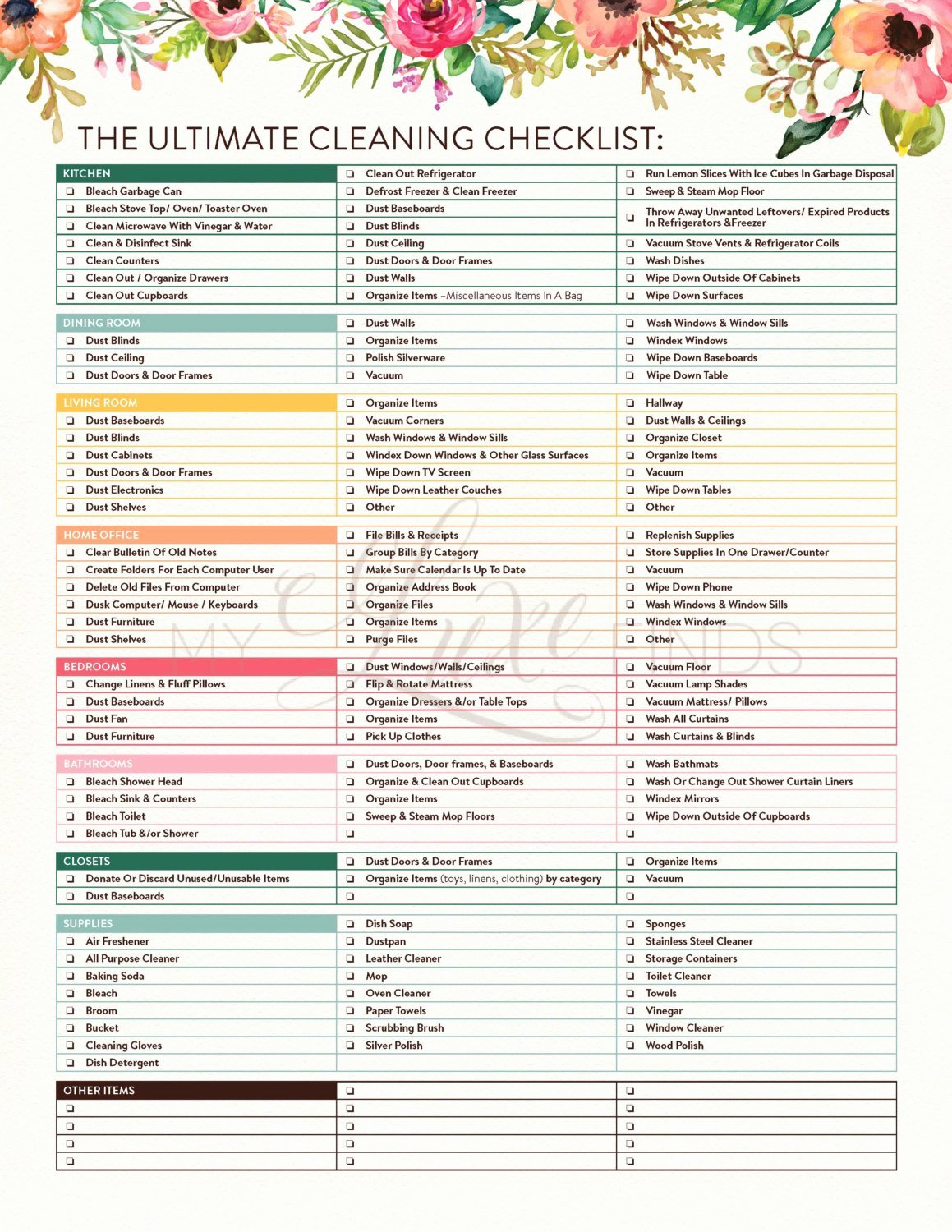 Printable Cleaning Schedule Template New the Ultimate House Cleaning Checklist Printable Pdf