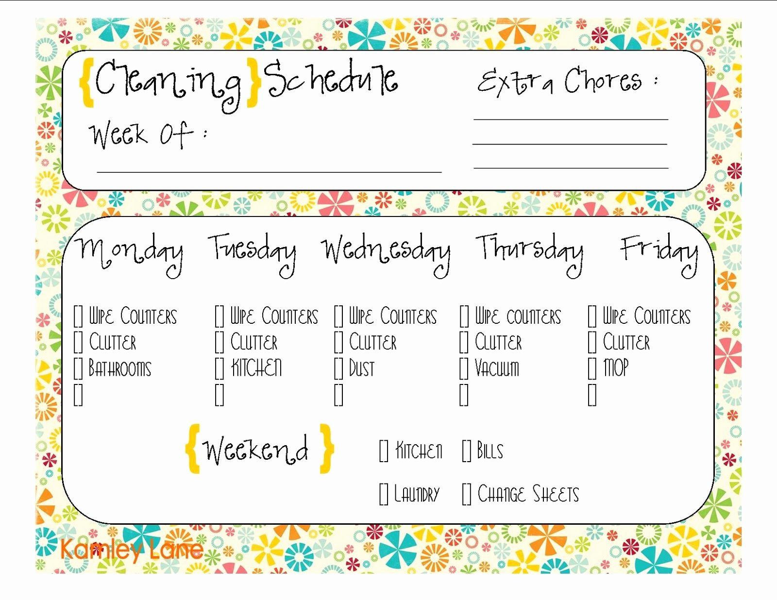 Printable Cleaning Schedule Template Unique Cleaning Schedule Free Printable Prints