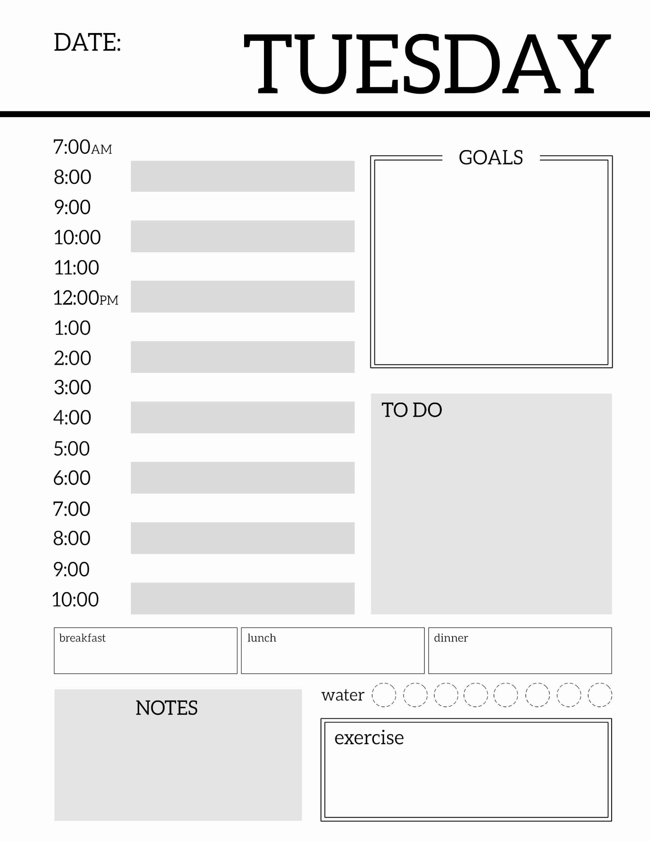 Printable Daily Schedule Template Beautiful Daily Planner Printable Template Sheets Paper Trail Design