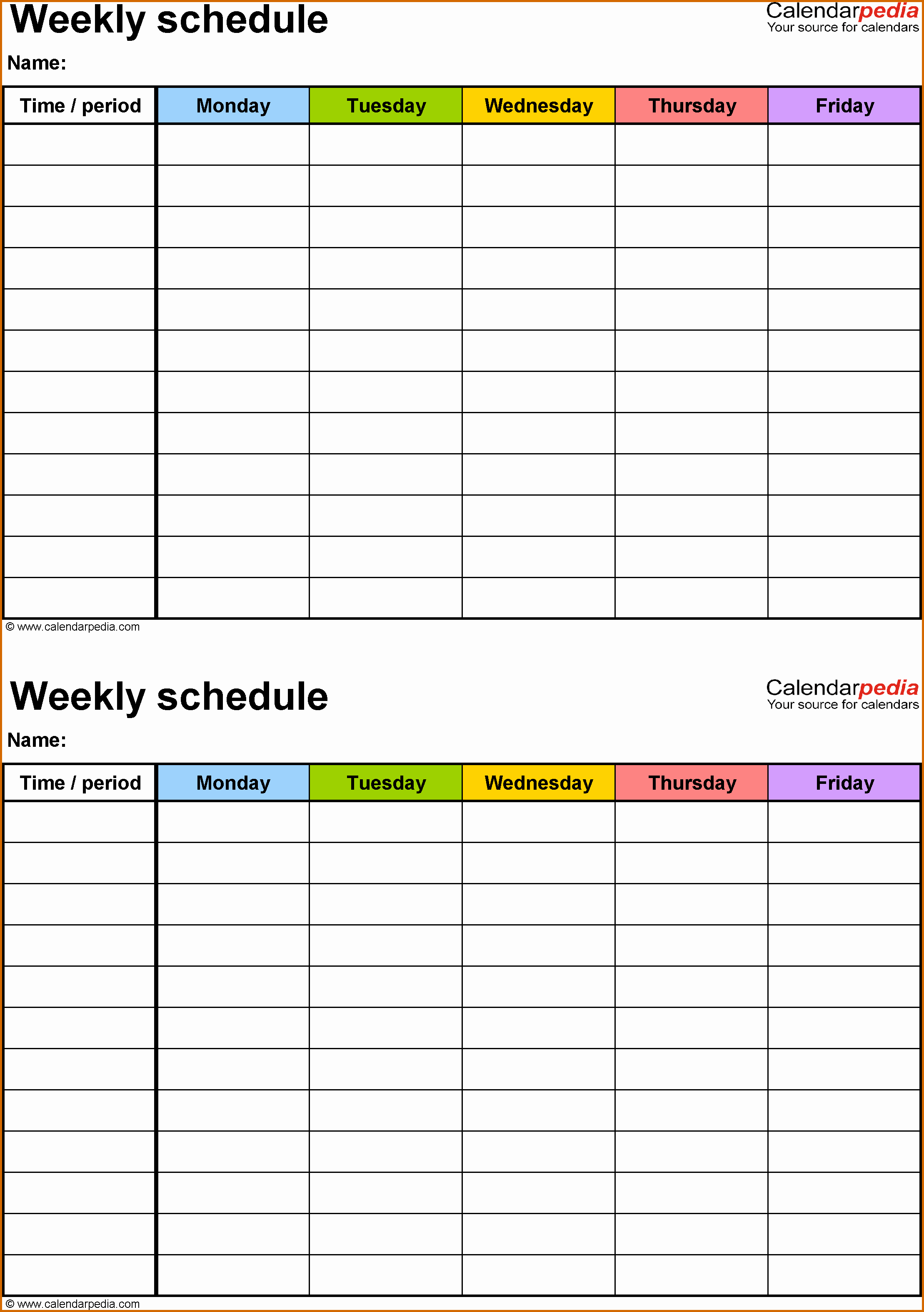 Printable Daily Schedule Template Elegant 10 Weekly Class Schedule Template Printable