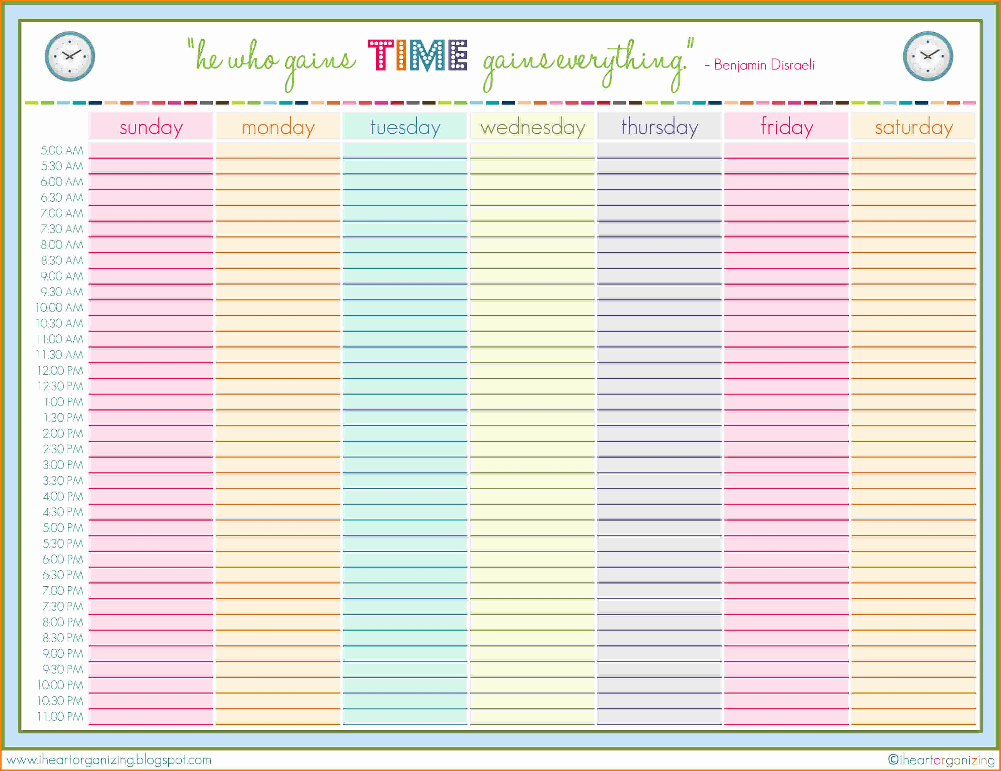 Printable Daily Schedule Template Elegant 6 Family Daily Schedule Template