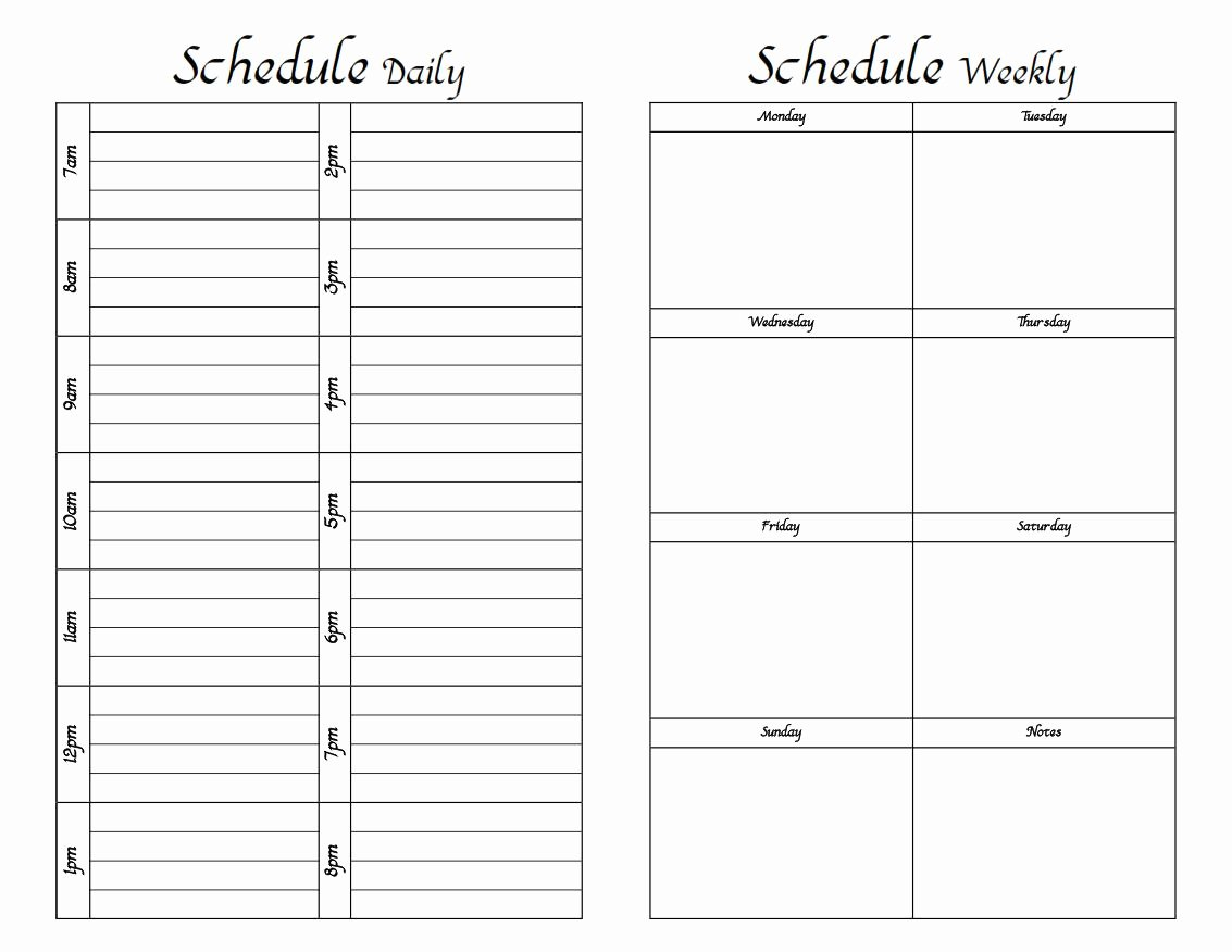 Printable Daily Schedule Template Elegant Do It Yourself Printable Weekly Planner Fun with Printer