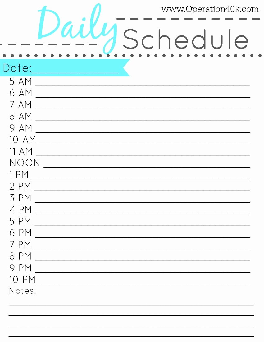 Printable Daily Schedule Template Fresh Free Printable Daily Schedule Tips Pinterest