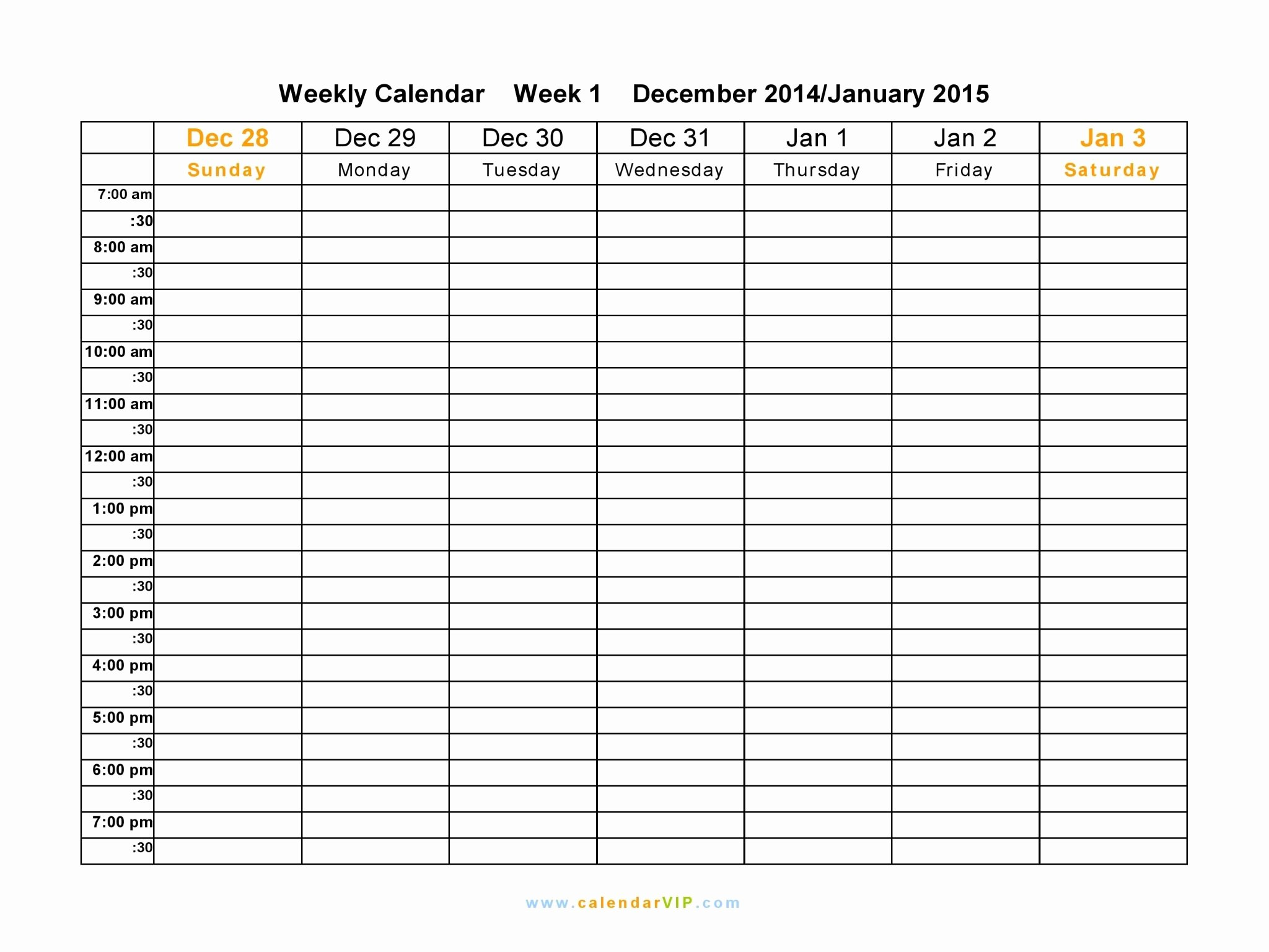 Printable Daily Schedule Template Inspirational Free Printable Weekly Calendar Templates 2015