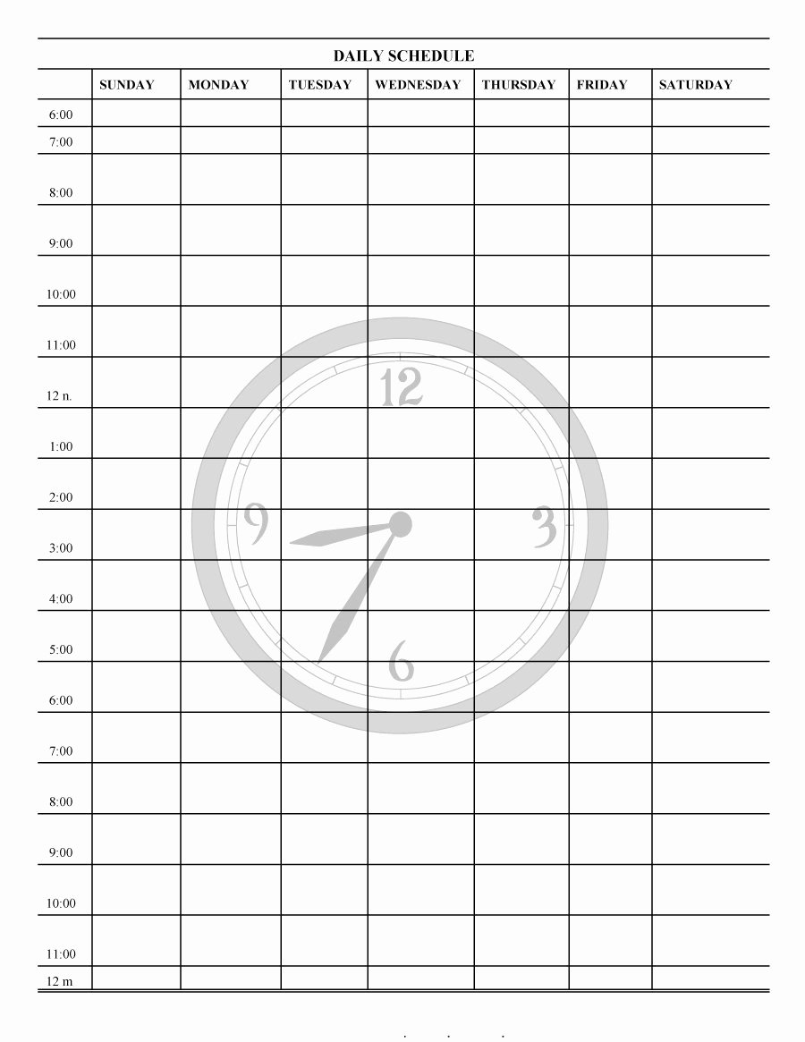 Printable Daily Schedule Template Lovely 40 Printable Daily Planner Templates Free Template Lab