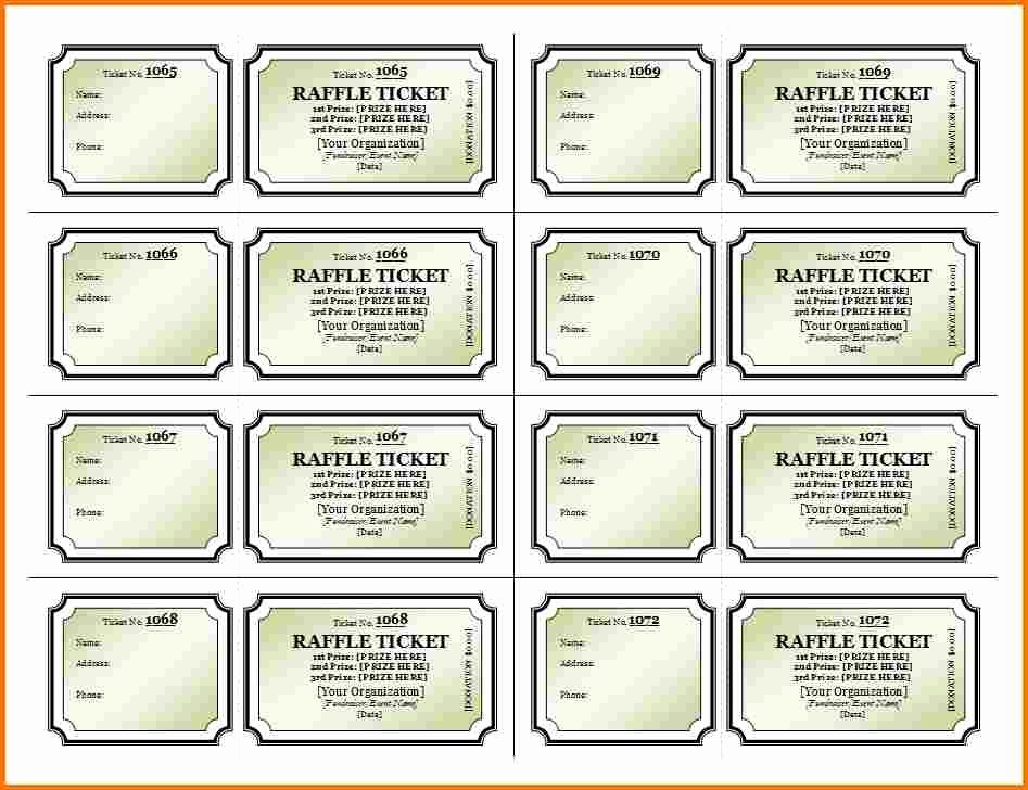 Printable event Ticket Template Free Awesome Raffle Ticket Template Free