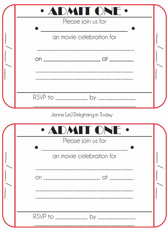 Printable event Ticket Template Free Fresh Movie Ticket Birthday Invitations Free Printable