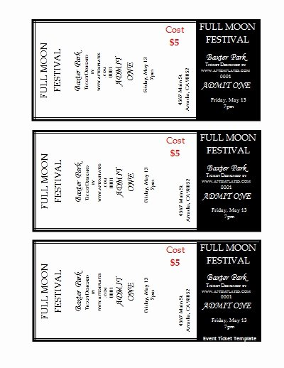 Printable event Ticket Template Free Luxury 7 Best Of Avery Printable event Tickets Avery