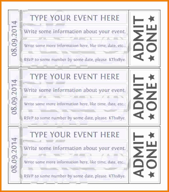 Printable event Ticket Template Free Luxury Free event Ticket Template