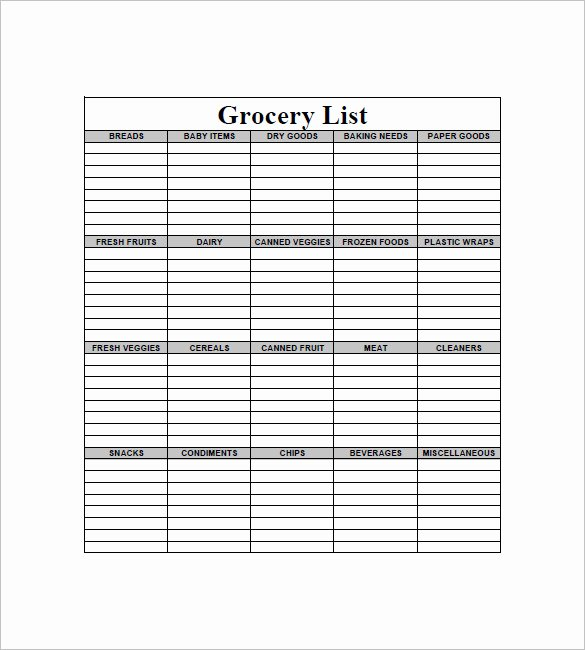 Printable Grocery List Template Beautiful 10 Blank Grocery List Templates Pdf Doc Xls