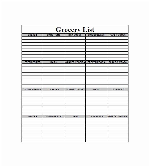 Printable Grocery List Template Beautiful 10 Blank Grocery List Templates Pdf Doc Xls