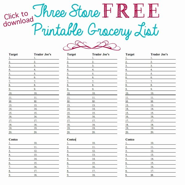 Printable Grocery List Template Beautiful organized Grocery List 3 Free Printable Templates ask Anna