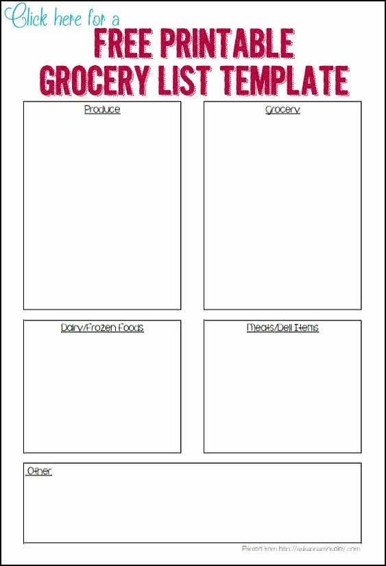 Printable Grocery List Template Best Of 1000 Ideas About Grocery List Templates On Pinterest